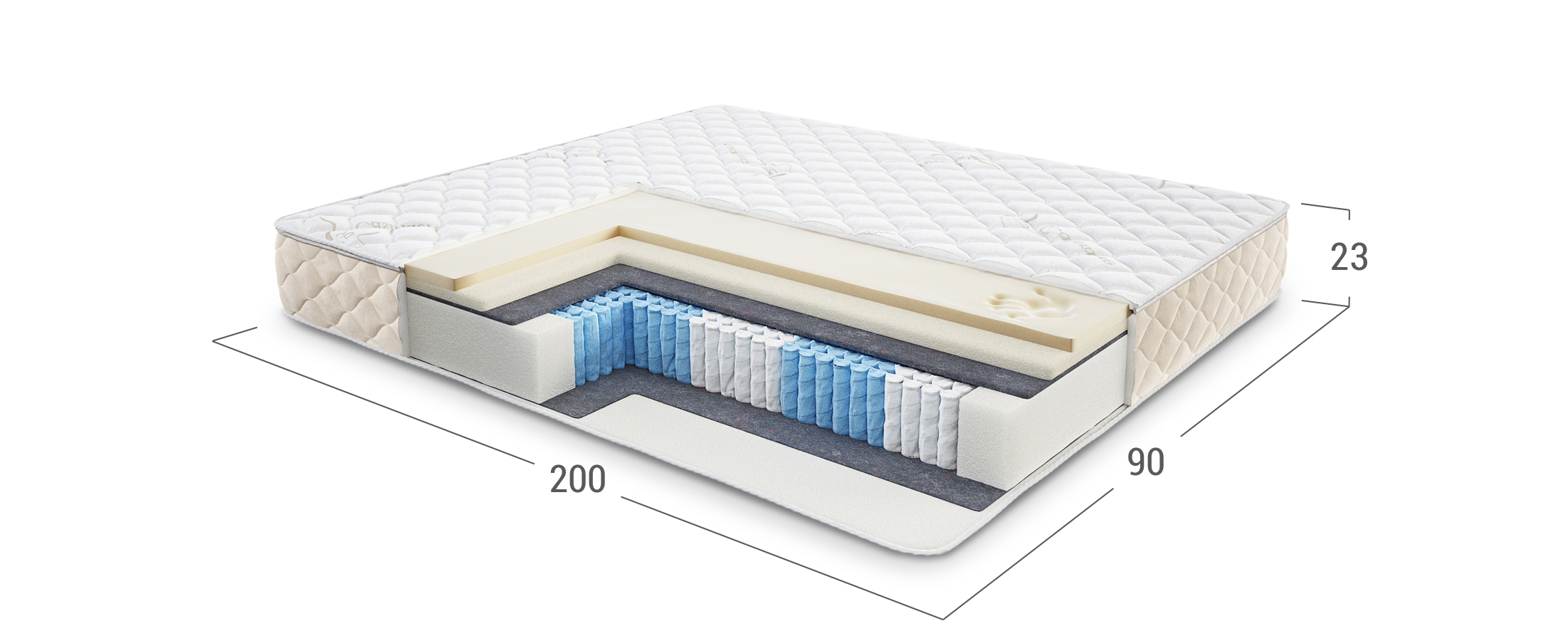 Comfort Plus Memory Soft 441 матрас 90x200 со съёмным чехлом